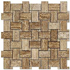 Noce Vein-Cut Travertine Basketweave Mosaic Tile, Brushed & Unfilled (LOT of 50 SHEETS)