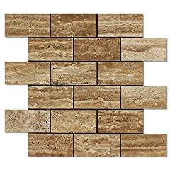 Noce Vein-Cut Travertine 2 X 4 Brick Mosaic Tile, Polished (LOT of 5 SHEETS)
