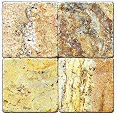 Scabos 12 X 12 Travertine Tumbled Tile - Box of 5 sq. ft.