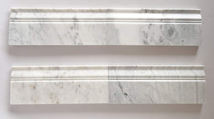 Bianco Venatino Marble Polished 5 X 12 Baseboard Trim Molding - STANDARD QUALITY - Lot of 20 Pcs.