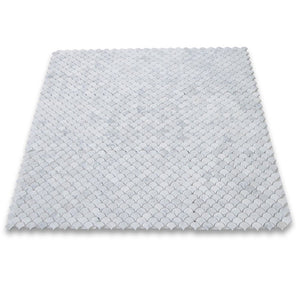 Carrara White Italian Carrera Marble Medium Fan Shaped Fish Scale Mosaic Tile Honed