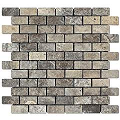 Silver Travertine 1 X 2 Brick Mosaic Tile, Tumbled (LOT of 5 SHEETS)