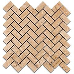 "Mut Mocha Travertine Herringbone Polished Mosaic Tile - 6"" X 6"" Sample"