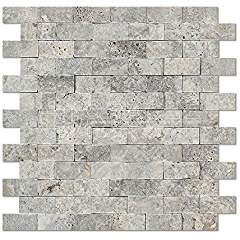 Silver Travertine 1 X 2 Brick Mosaic Tile, Split-Faced (LOT of 5 SHEETS)
