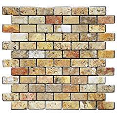 Scabos 1 X 2 Tumbled Travertine Brick Mosaic Tile - 6 X 6 Sample Piece