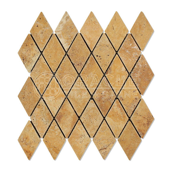 Gold / Yellow Travertine 2X4 Diamond / Rhomboid Tumbled Mosaic Tile