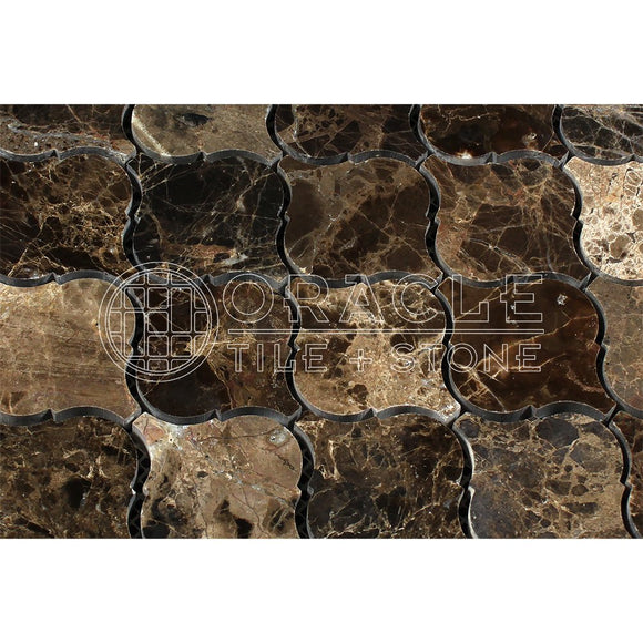 Emperador Dark Spanish Marble Lantern Arabesque Mosaic Tile, Polished