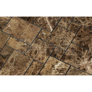 Emperador Dark Spanish Marble Mini-Versailles Pattern Mosaic, Polished