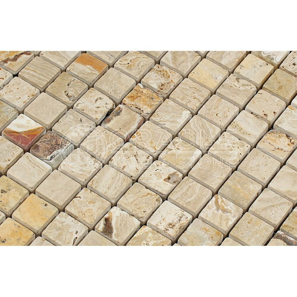 Valencia Travertine 1 X 1 Mosaic Tile, Tumbled (LOT of 5 SHEETS)