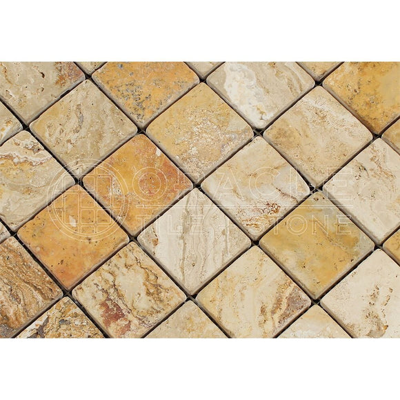 Valencia Travertine 2 X 2 Mosaic Tile, Tumbled (6