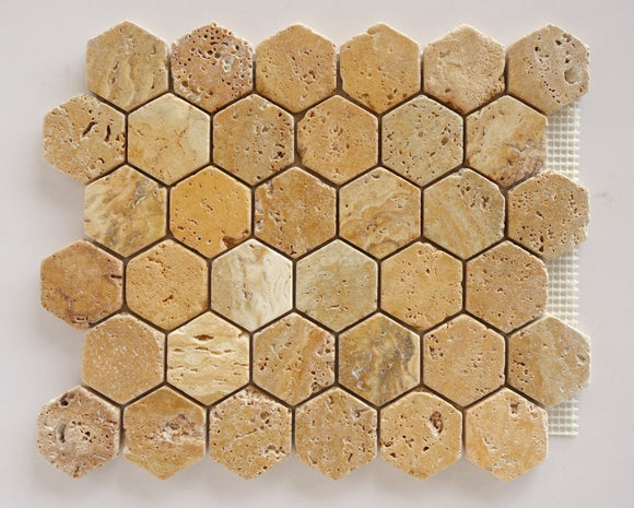 Gold / Yellow Travertine 2 inch Tumbled Hexagon Mosaic Tile STANDARD QUALITY - Lot of 10 Sheets