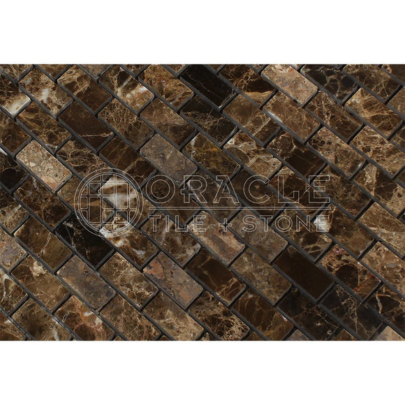 Emperador Dark Spanish Marble Mini Brick Mosaic Tile, Tumbled