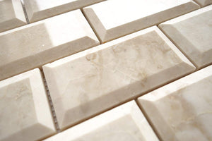 Cappuccino Marble 2X4 Deep-Beveled Polished Brick Mosaic Tile - STANDARD QUALITY - Lot of 20 SHEETS