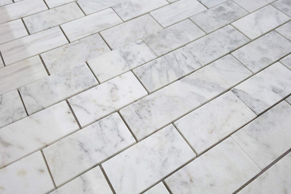 Bianco Venatino Marble 2 X 4 Straight - Edge & Polished Subway Tile - STANDARD QUALITY - Lot of 20 Sq. Ft.