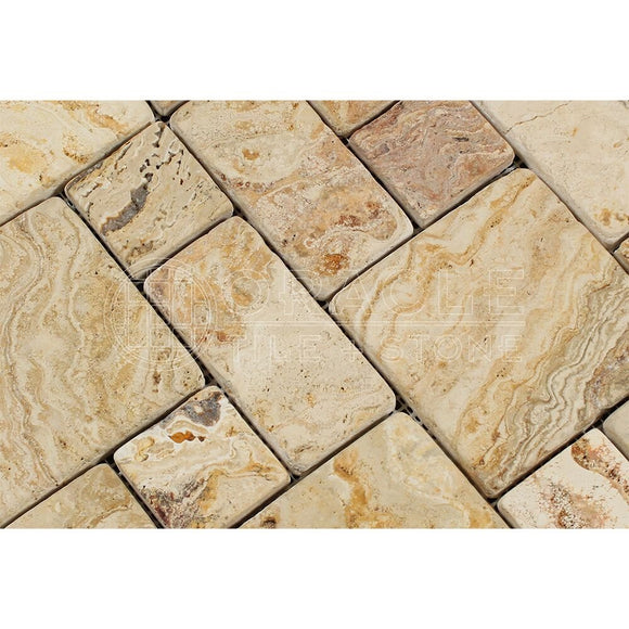 Valencia Travertine 3-Pieced Mini-Pattern Mosaic Tile, Tumbled (Small Sample)