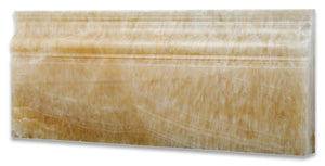 "Honey Onyx Polished 5 X 12 Baseboard Trim Molding (4"" Sample)"