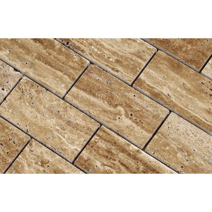 Noce Vein-Cut Travertine 2 X 4 Brick Mosaic Tile, Polished (LOT of 50 SHEETS)
