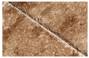 Chocolate Travertine Versailles / Ashlar Pattern Tiles, Unfilled / Brushed & Chiseled (Lot of 200 Sq. Ft. (25 Bundles))