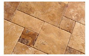 Gold (Yellow) Travertine Versailles Pattern Field Tiles, Unfilled & Brushed & Chiseled (Lot of 72 Sq. Ft. (9 Bundles))