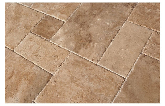 Walnut Travertine Roman / MIDI Versailles Pattern Tiles, Unfilled / Brushed & Chiseled (Lot of 135 Sq. Ft. (15 Bundles))