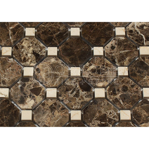 Emperador Dark Spanish Marble Octagon Mosaic Tile with Crema Marfil Marble Dots, Polished