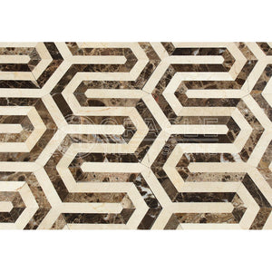 Emperador Dark Spanish Marble Berlinetta Design Mosaic Tile with Crema Marfil Marble, Polished