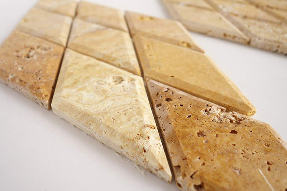Gold Travertine Diamond / Rhomboid Honed & Beveled Mosaic Tiles - STANDARD QUALITY - Lot of 10 Sheets