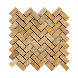 Gold (Yellow) Travertine 1X2 Herringbone Mosaic Tile, Tumbled