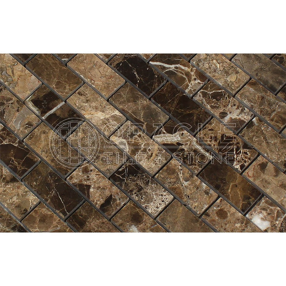 Emperador Dark Spanish Marble 1 X 2 Brick Mosaic Tile, Split-Faced