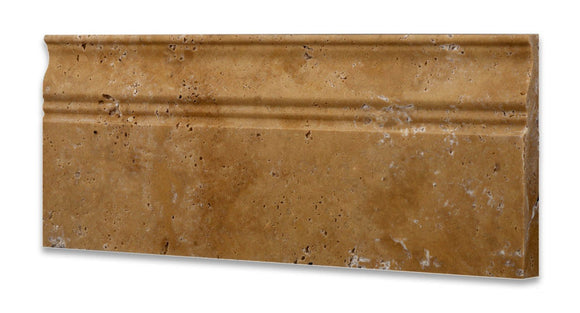 Gold (Yellow) Travertine 5 X 12 Baseboard Trim Molding, Honed - Box of 50 pcs.