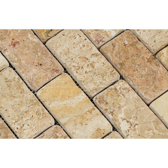 Valencia Travertine 2 X 4 Brick Mosaic Tile, Tumbled (LOT of 50 SHEETS)