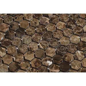 Emperador Dark Spanish Marble 1 inch Hexagon Mosaic Tile, Polished