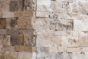 Philadelphia Travertine Stacked Ledger Wall Panel Tile Corner, Split-faced (5 PCS.)