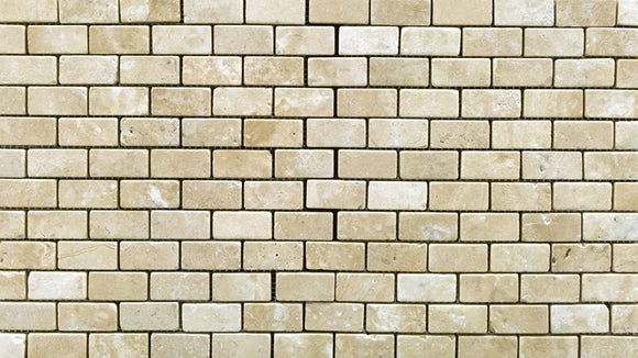 Durango Cream 1 X 2 Tumbled Travertine Brick Mosaic Tile - Box of 5 sq. ft.