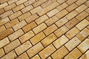 Gold Yellow Travertine 1X2 Tumbled Brick Mosaic Tile - STANDARD QUALITY - Lot of 15 Sheets
