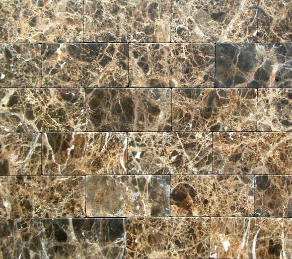 Dark Emperador Tumbled 3x6 Marble Tile Brick Pattern