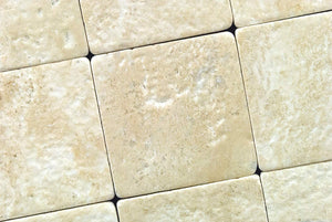 Durango Cream 4X4 Travertine Tumbled Tile - Box of 5 sq. ft.