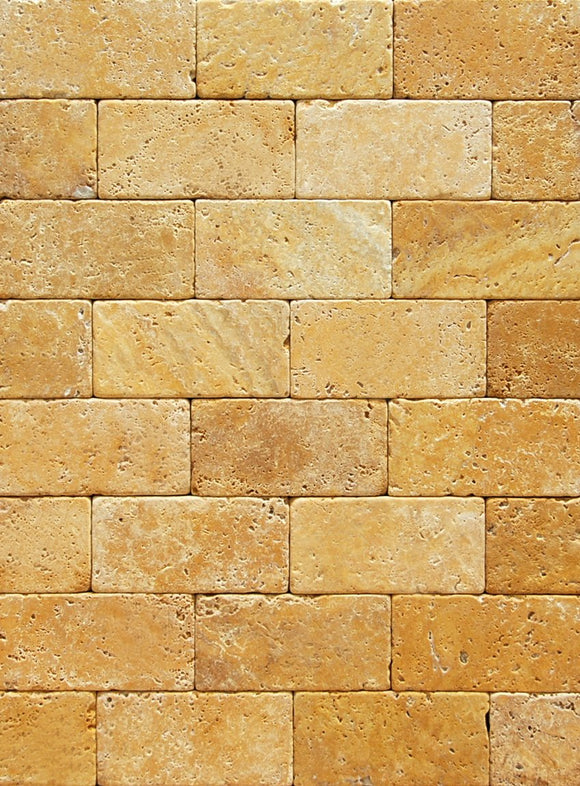 Gold (Yellow) Travertine 3 X 6 Brick Field Tile, Tumbled
