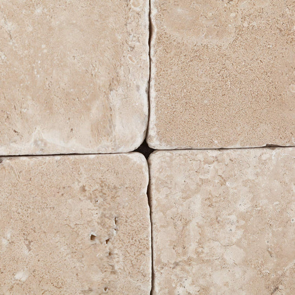 Durango Cream (Paredon) Travertine 6 X 6 Tumbled Tile - Box of 5 sq. ft.