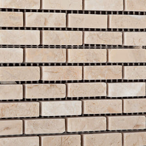 "Bursa Beige / Sandy Beige Marble Mini - Brick Polished Mosaic Tile - 6"" X 6"" Sample"