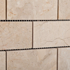 Bursa Beige / Sandy Beige Marble 2 X 4 Polished Brick Mosaic Tile - Box of 5 Sheets