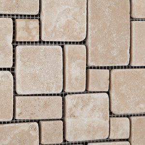 Durango Cream (Paredon) Travertine Tumbled Mini-Versailles Pattern Mosaic Tile - Sample Piece