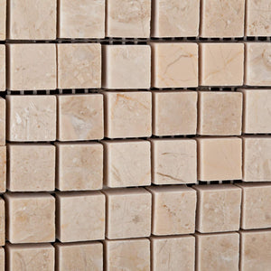 "Bursa Beige / Sandy Beige Marble 5/8 X 5/8 Polished Mosaic Tile - 6"" X 6"" Sample"