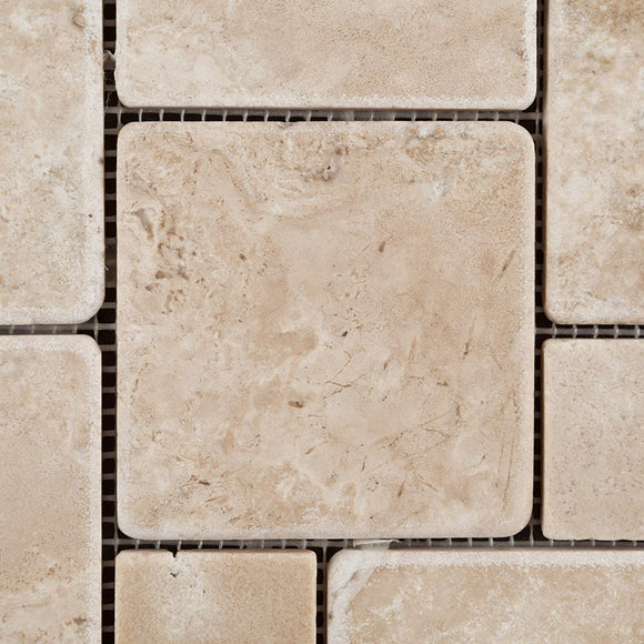 Durango Cream (Paredon) Travertine Tumbled OPUS Mini-Pattern Mosaic Tile - Lot of 50 Sheets
