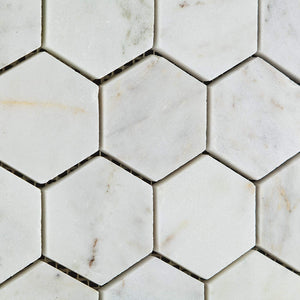 "Bianco Venatino White Carrara Marble 2"" Hexagon HONED Mosaic Tile on 12x12 Sheet - Lot of 50 Sheets"