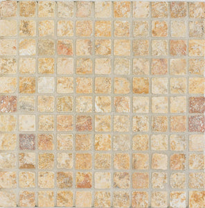 Arizona Tile 12 by 12-Inch Mosaic made from 1 by 1-Inch Tumbled Travertine Tiles, Scabos, 10-Pack