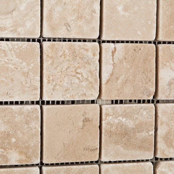 Durango Cream (Paredon) Travertine 2 X 2 Tumbled Mosaic Tile - Sample Piece