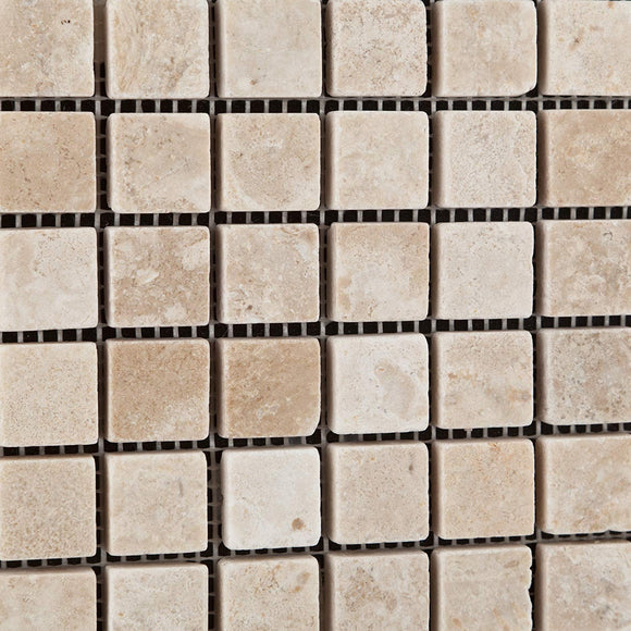Durango Cream (Paredon) Travertine 1 X 1 Tumbled Mosaic Tile - 1 Full Sheets