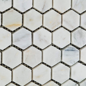 "Bianco Venatino Carrara White Carrera Marble Honed 1.25 inch (1 1/4"") Hexagon Mosaic Tile - Sample Piece"