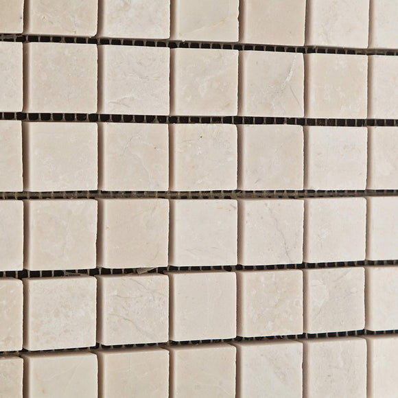 White Pearl / Botticino Marble 1 X 1 Polished Mosaic Tile - Lot of 50 Sheets